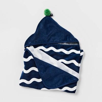 "25""x50"" Blue Wave Hooded Towel - Pillowfort™"