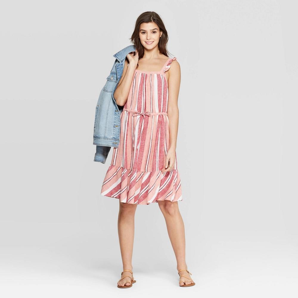 4e32d8ac7e66c1 Womens Striped Ruffle Sleeveless U Neck Stripe Dress Universal Thread Coral  XL Pink
