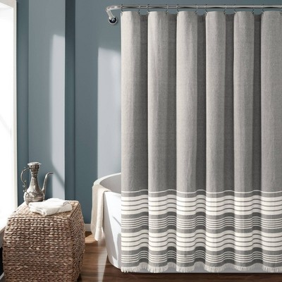 Nantucket Yarn Dyed Cotton Tassel Fringe Shower Curtain Gray/White - Lush Décor