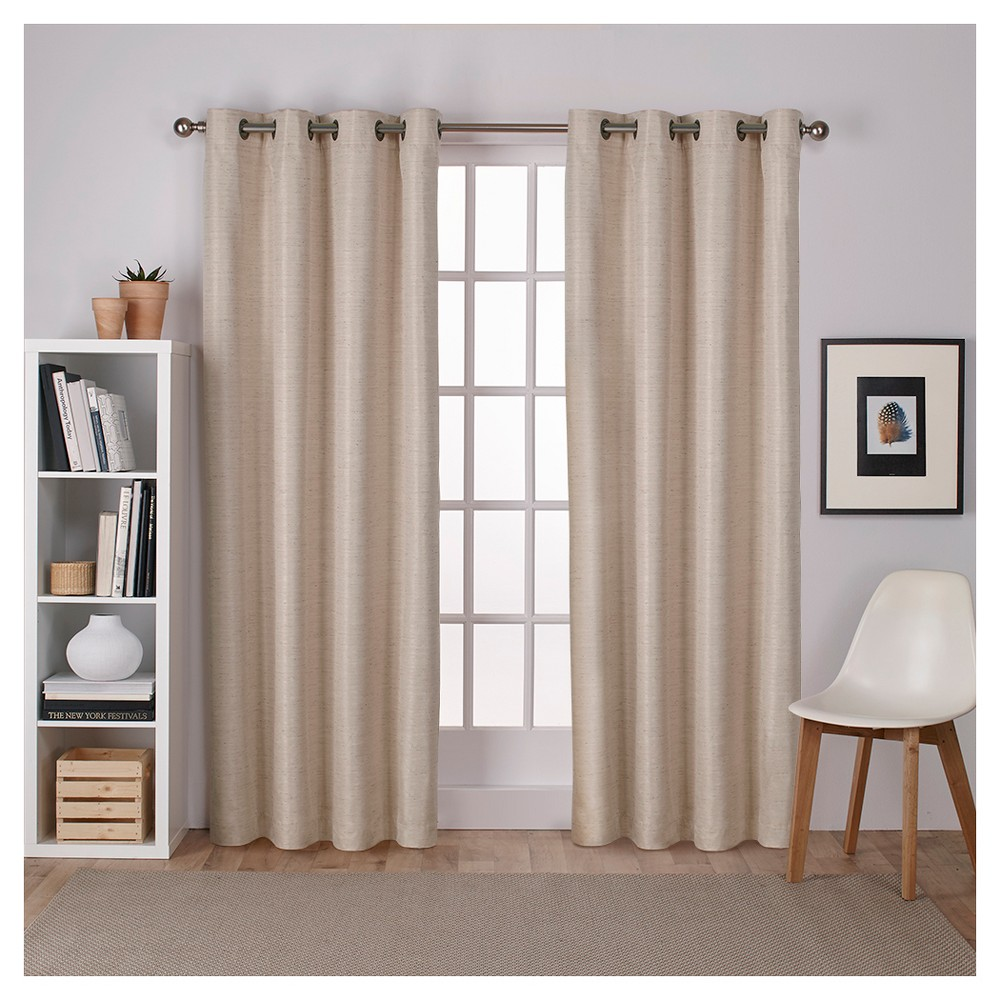 """Image of """"Raw Silk Thermal Room Darkening Window Curtain Panel Pair Taupe (54 X 96"""""""") - Exclusive Home, Size: 54""""""""x96"""""""", Brown"""""""