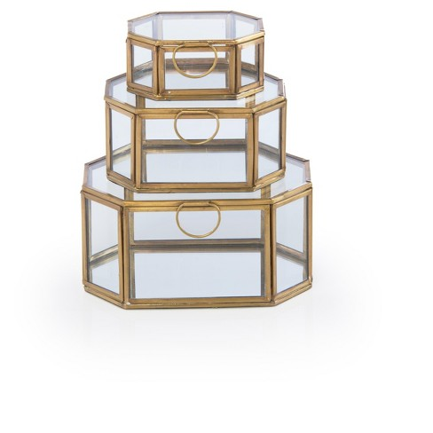 Assorted Set Of 3 Wallace Hexagon Display Boxes - Shiraleah - image 1 of 2