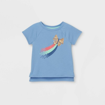 Toddler Girls' Sequin Rainbow Butterfly Short Sleeve T-Shirt - Cat & Jack™ Blue
