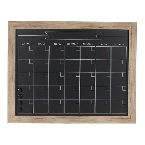 """29"""" x 23"""" Beatrice Framed Magnetic Chalkboard Calendar Rustic Brown - DesignOvation - image 1 of 4"""