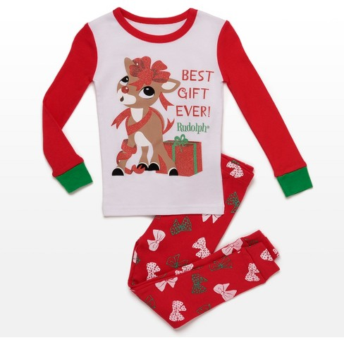 d446e93814 Toddler Girls  Rudolph the Red-Nosed Reindeer Best Gift Ever 2pc Pajama Set  - Red