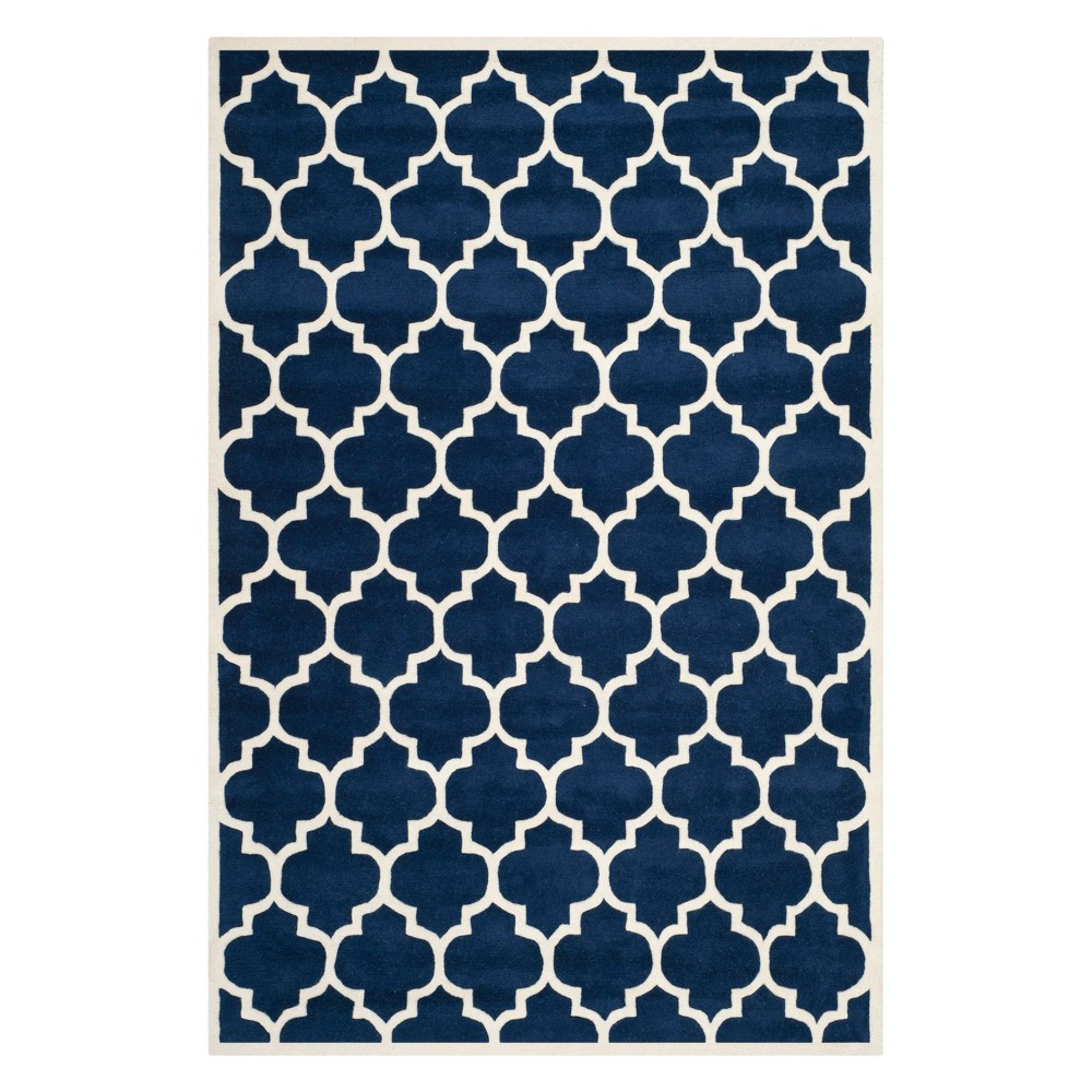 6'X9' Quatrefoil Design Tufted Area Rug Dark Blue/Ivory - Safavieh