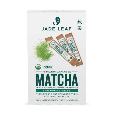 Jade Leaf Ceremonial Grade Matcha Green Tea Single Serve Stick Packs - 10ct