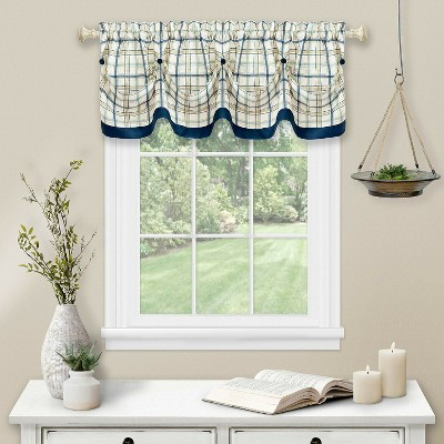 Kate Aurora Country Farmhouse Plaid Tattersall Button Tuck Window Valance