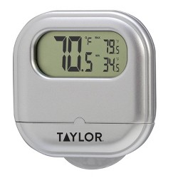 Taylor Digital Indoor/Outdoor Thermometer With Suction Cup Silver