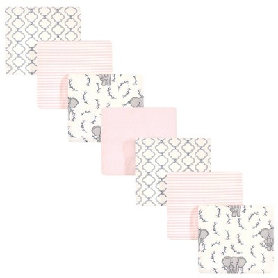 Touched by Nature Unisex Baby Organic Cotton Flannel Blankets - Pink Elephant One Size 7pk