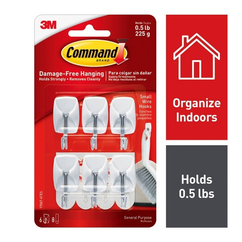 Command Small Sized Wire Hooks Value Pack (6 Hooks 8 Strips) White - image 1 of 7