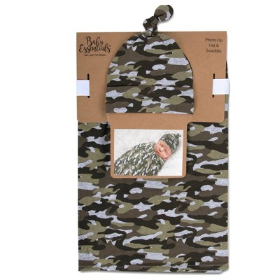 Baby Essentials Swaddle and Knot Cap - Camo