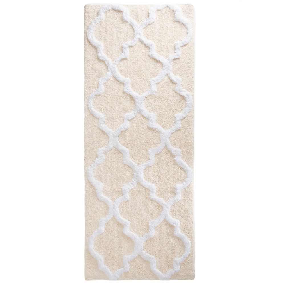 Trellis Bath Mat Bone (Ivory) - Yorkshire Home