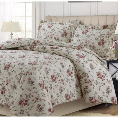 Dollhouse Floral Heavyweight Cotton Flannel Oversized Duvet Set - Tribeca Living