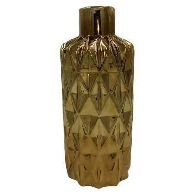 Diamond Pattern Ceramic Vase Cognac 14  - Drew DeRose