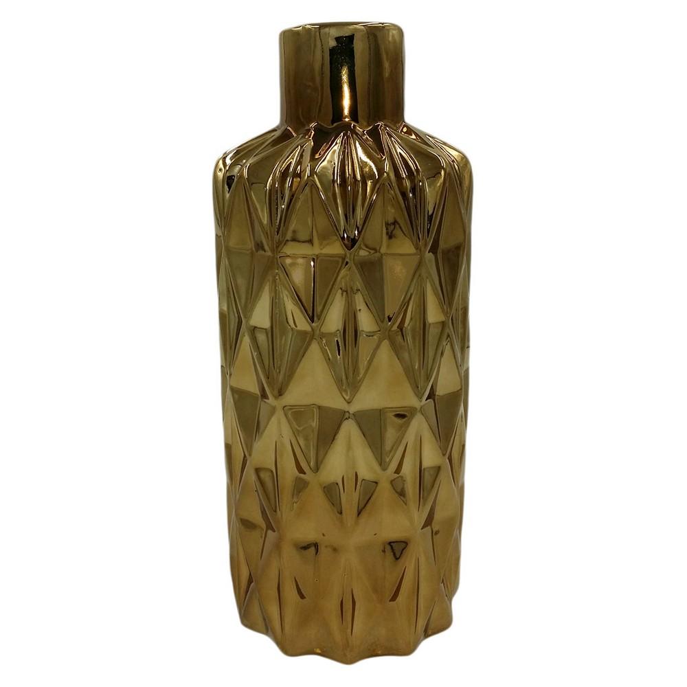 Image of Diamond Pattern Ceramic Vase Cognac (Red) 14 - Drew DeRose