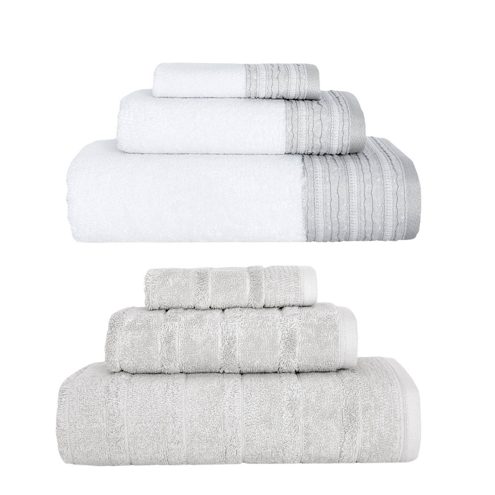 Image of 6pc Luxury Fancy Towel Bundle Set White/Stone - Royal Turkish Towels