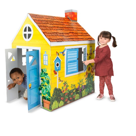 Melissa & Doug Country Cottage Indoor Corrugate Playhouse (Over 4' Tall) image number null