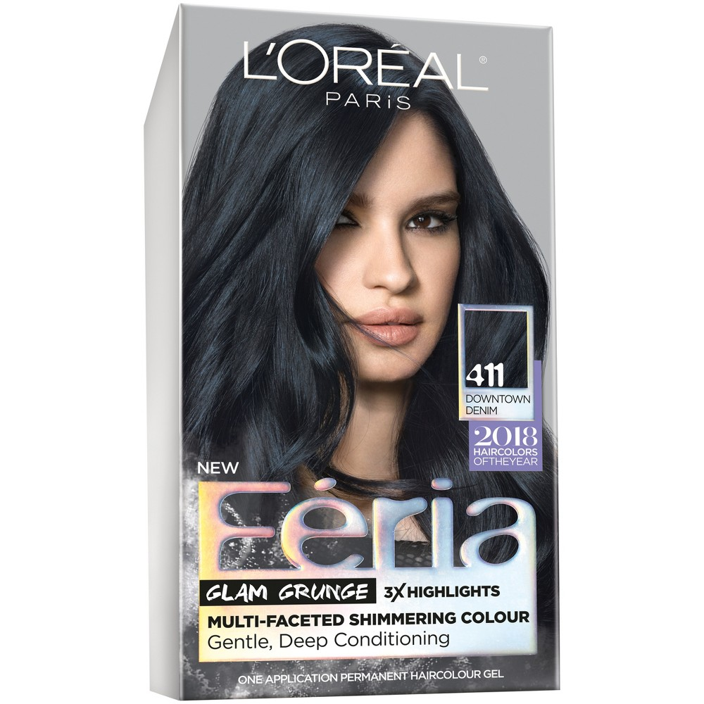 L'Oréal Paris Feria Permanent Hair Color 411 Downtown Denim, Downtown Denim 411