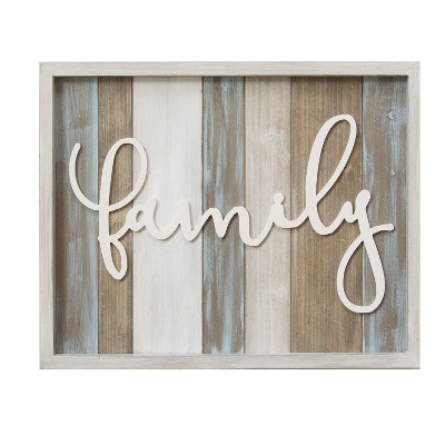 Stratton Home Decor 16 x20  Rustic  Family  Wood Decorative Wall Art Set White