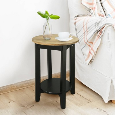 American Oak Top Round End Table Forest Gray/Black - Flora Home