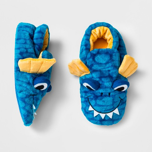 Boys' Dragon Bootie Slippers - Cat & Jack™ Blue - image 1 of 1