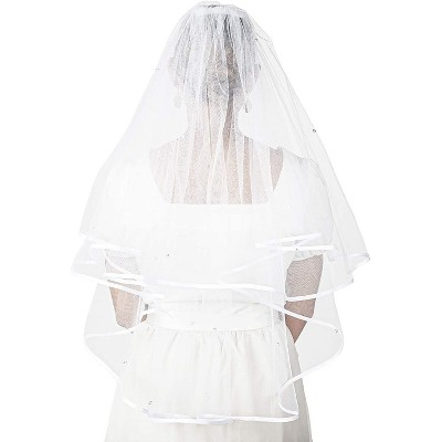 Sparkle and Bash 2 Tier Veil for Bride, White Bridal Wedding Veil with Crystals (30 In)