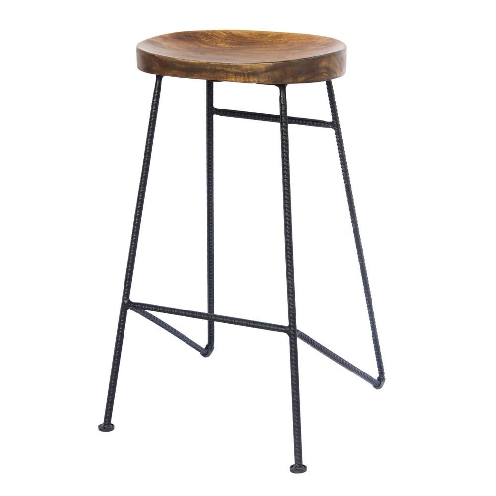 Mango Wood Saddle Seat Bar Stool Antique Wood - The Urban Port