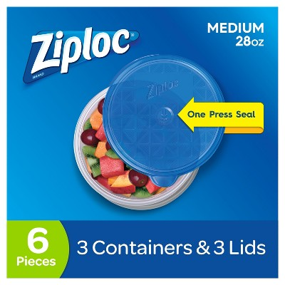 Ziploc Medium Round Containers - 3ct