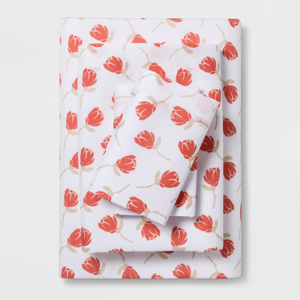 Queen Microfiber Sheet Set Coral Floral - Room Essentials was $15.99 now $11.19 (30.0% off)