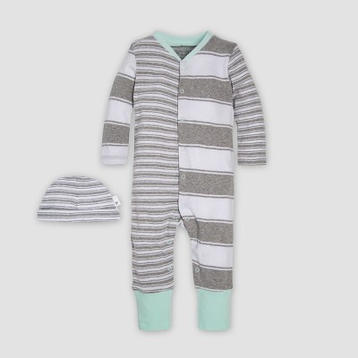 Burt's Bees Baby® Organic Cotton Peace Stripe Blocked Coverall & Cap Set - Heather Gray 0-3M