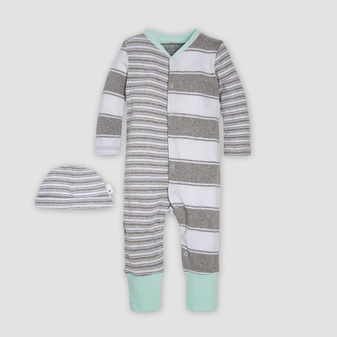 Burt's Bees Baby® Baby Organic Cotton Peace Stripe Blocked Coverall & Cap Set - Heather Gray - image 1 of 4