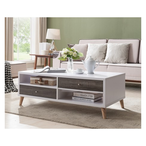 Weller Transitional Two Drawers Coffee Table Distressed Gray and White - HOMES: Inside + Out - image 1 of 3