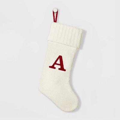 Knit Monogram Christmas Stocking White A - Wondershop™