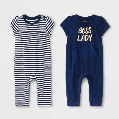 Baby Girls' 2pk Rompers - Cat & Jack™ Blue 6-9M