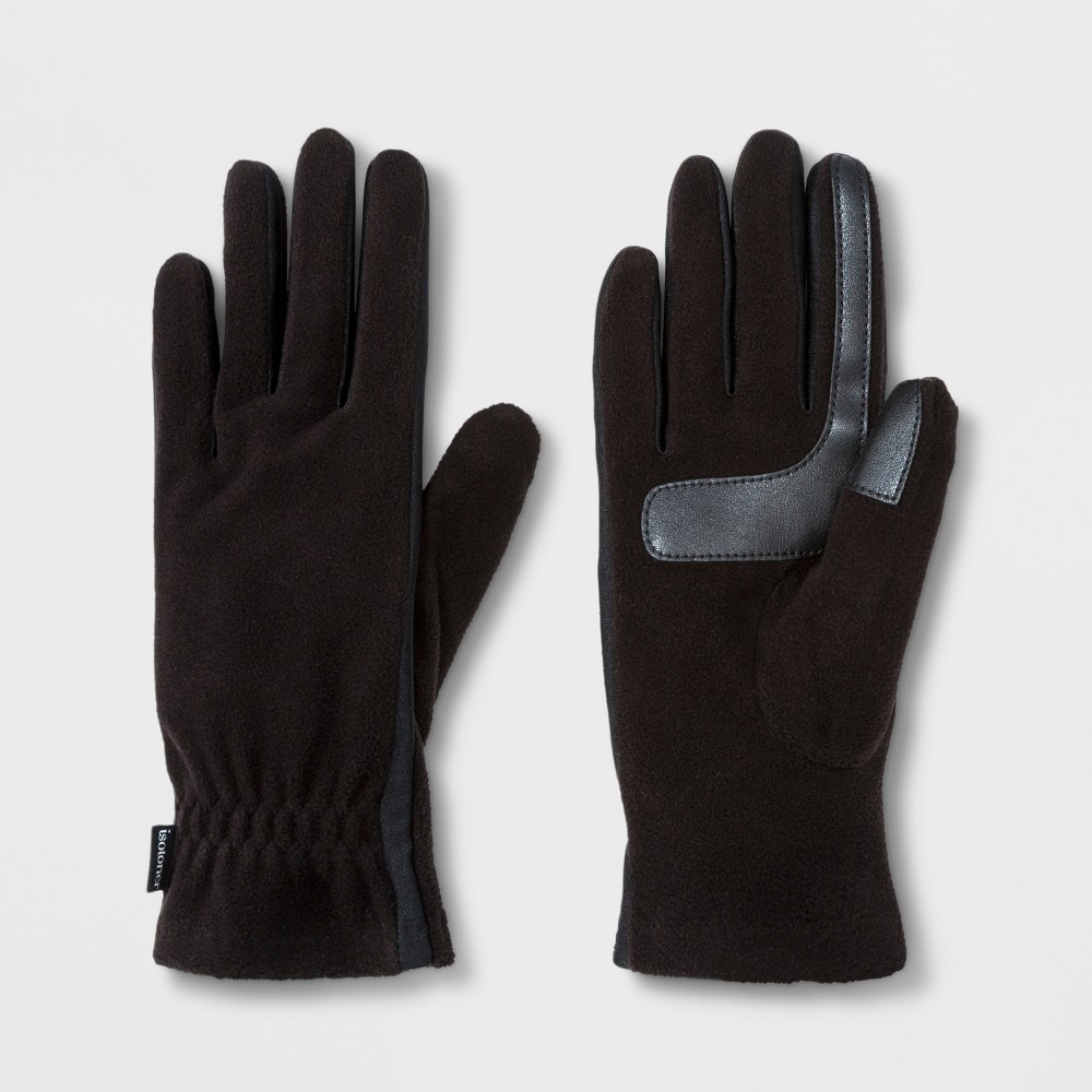 Isotoner Women's SmartDRI Fleece with Gathered & Smart Touch Gloves - Black