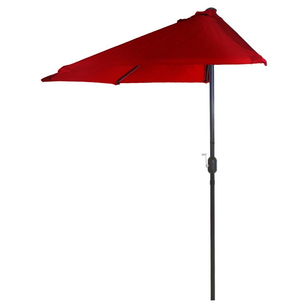 9' Half Round Patio Umbrella - Red - Pure Garden