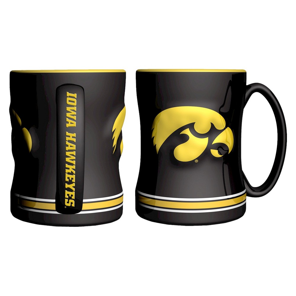 Iowa Hawkeyes Boelter Brands 2 Pack Sculpted Relief Style Coffee Mug - Black/ Yellow (15 oz), Multi-Colored