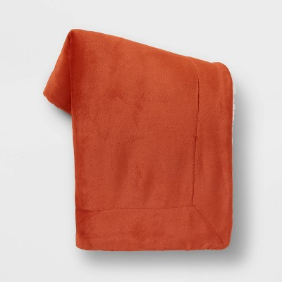 Solid Plush Throw Blanket with Sherpa Reverse Orange - Threshold™