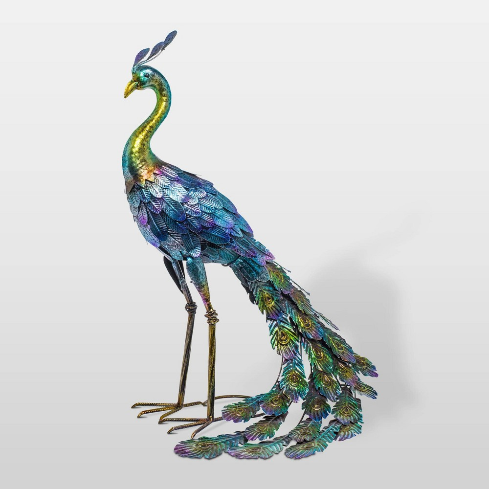 "Image of ""28"""" Metal Peacock Outdoor Decor With Glossy Finish Statue - Alpine Corporation"""
