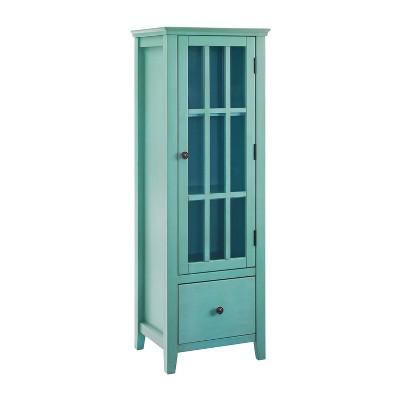 Largo Antique Glass Door Cabinet Turquoise - Linon