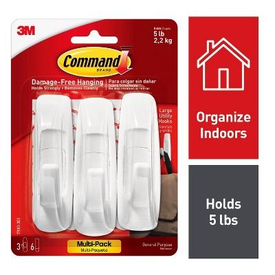 Command Large Sized Utility Hooks Value Pack (3 Hooks 6 Strips)White