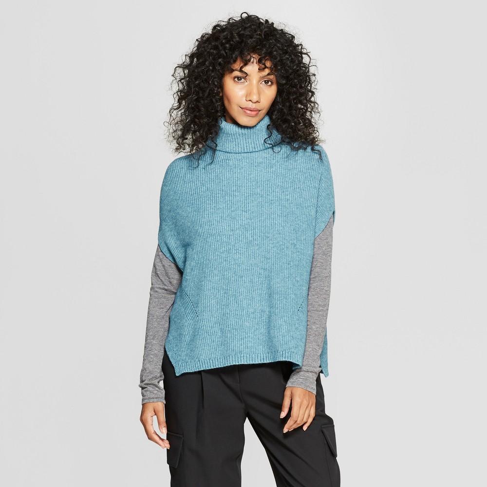 Women's Short Sleeve Turtleneck Tabard Sweater - Prologue Teal XL, Blue