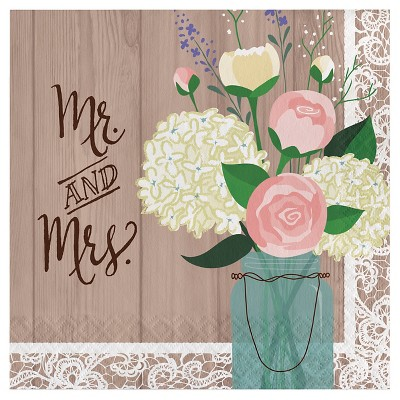 Rustic Wedding Mr. and Mrs. Napkins, 16 pk