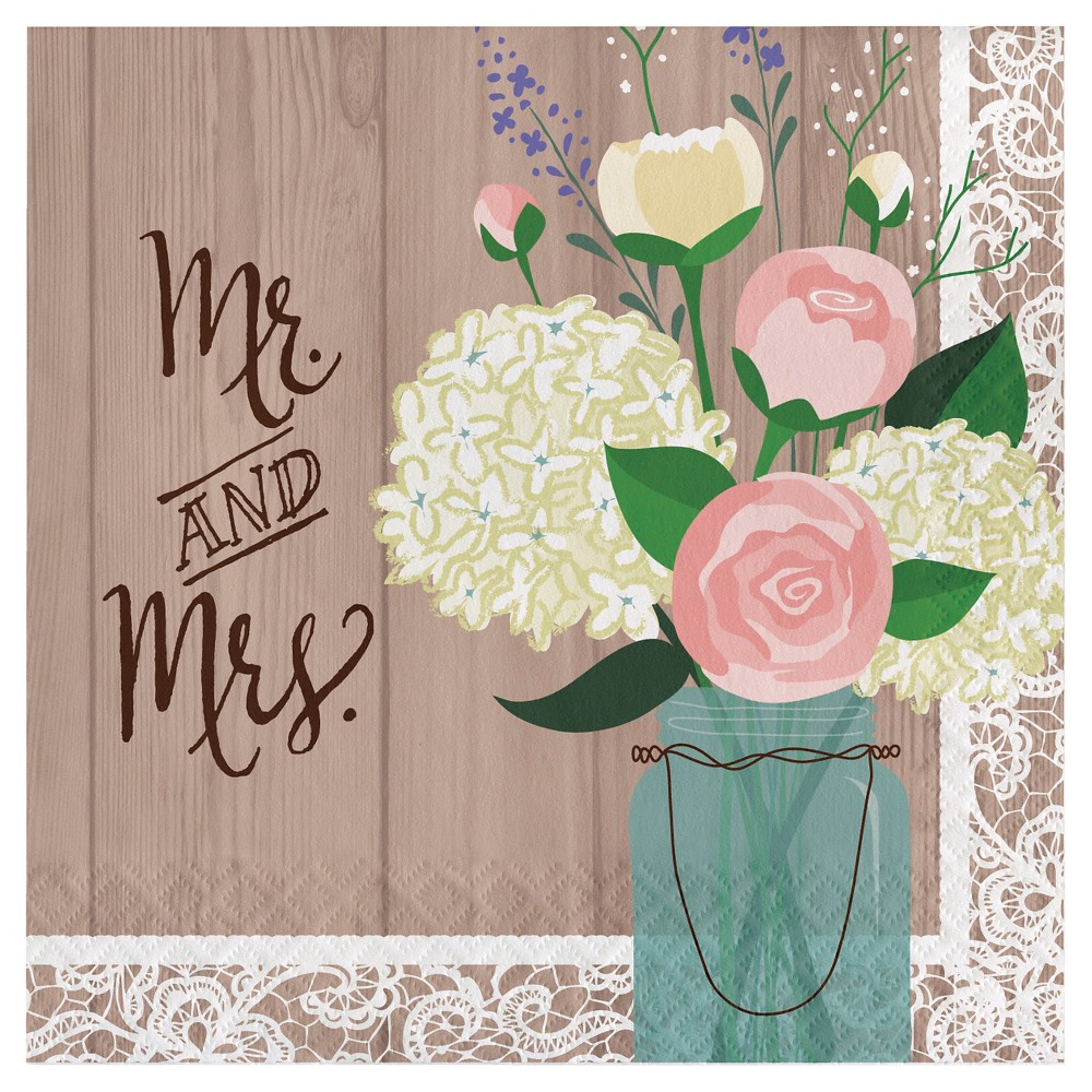 Image of Rustic Wedding Mr. and Mrs. Napkins, 16 pk