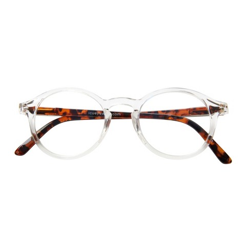 7177a2fd64 ICU Eyewear Screen Vision Blue Light Blocker Round Clear with Tortoise  Temples Glasses