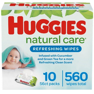 Huggies Natural Care Refreshing Baby Wipes Cucumber & Green Tea, Scented Flip-Top Packs - 10pk/560ct