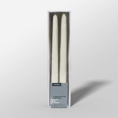 "10"" 2pk Unscented Taper Candle Set Cream - Made By Design™"