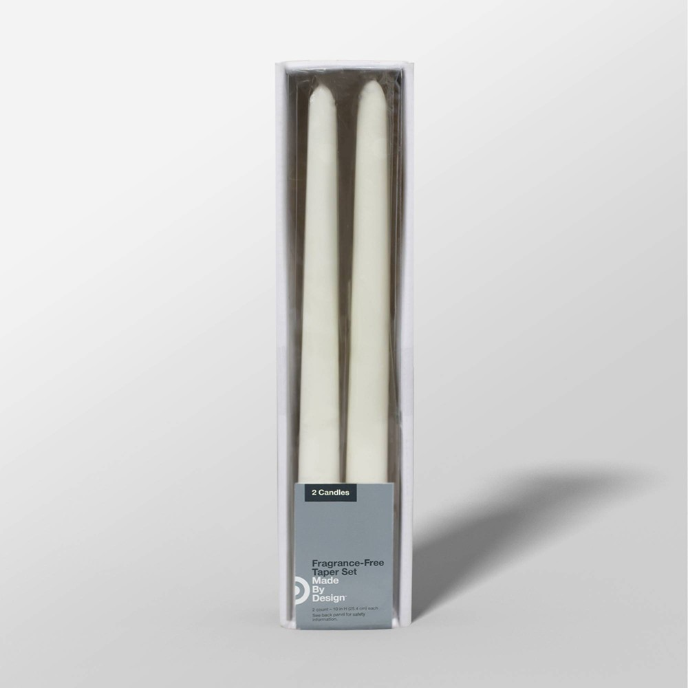 "Image of ""10"""" 2pk Unscented Taper Candle Set Cream - Made By Design , Ivory"""