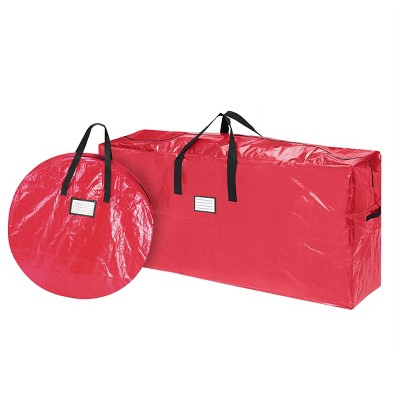 Hastings Home Christmas Tree and Wreath Storage Bags – Red, Set of 2