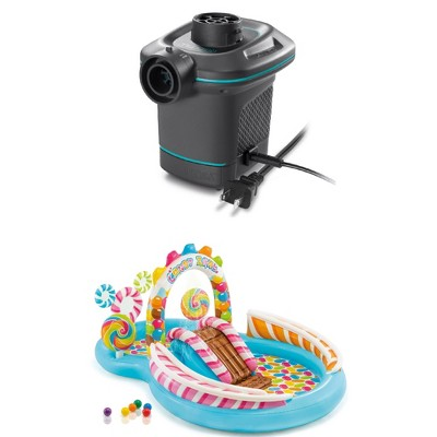 Intex 120V Quick Fill Electric Air Pump & 9ft x 51in Kids Inflatable Candy Pool